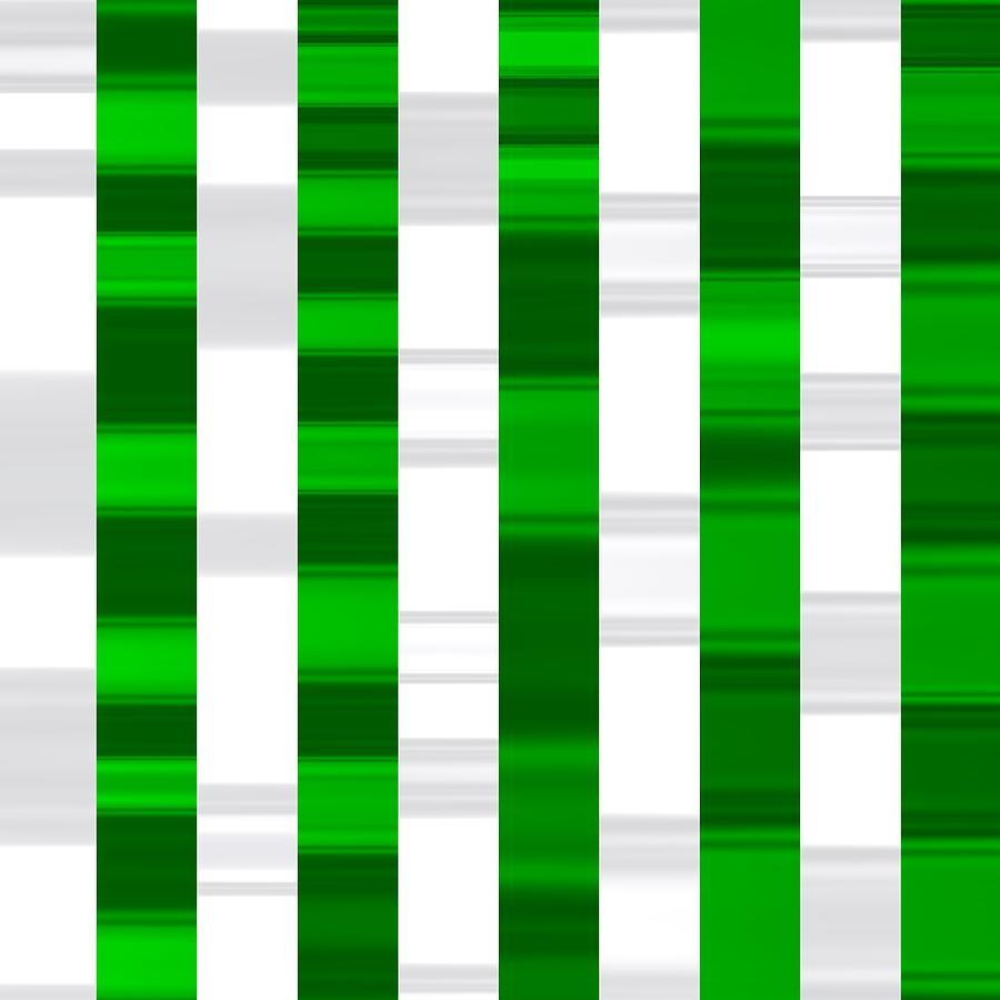 Green And White Sport Striped Digital Art