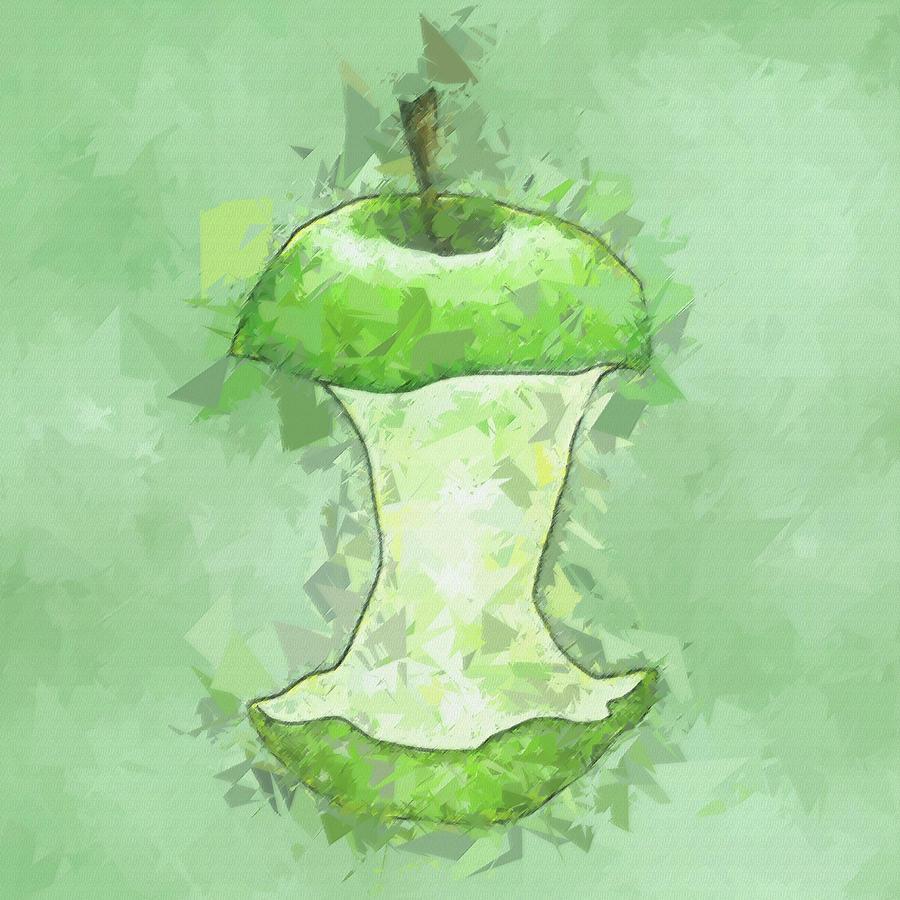 Green Apple Abstract Fruit Pane 2 Digital Art