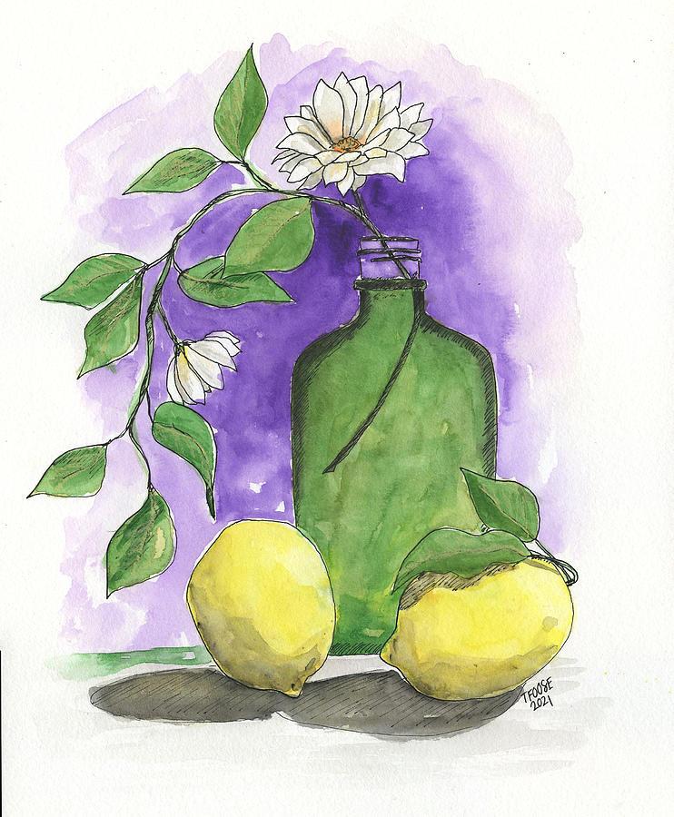 Green Bottle And Lemons Still Life Painting