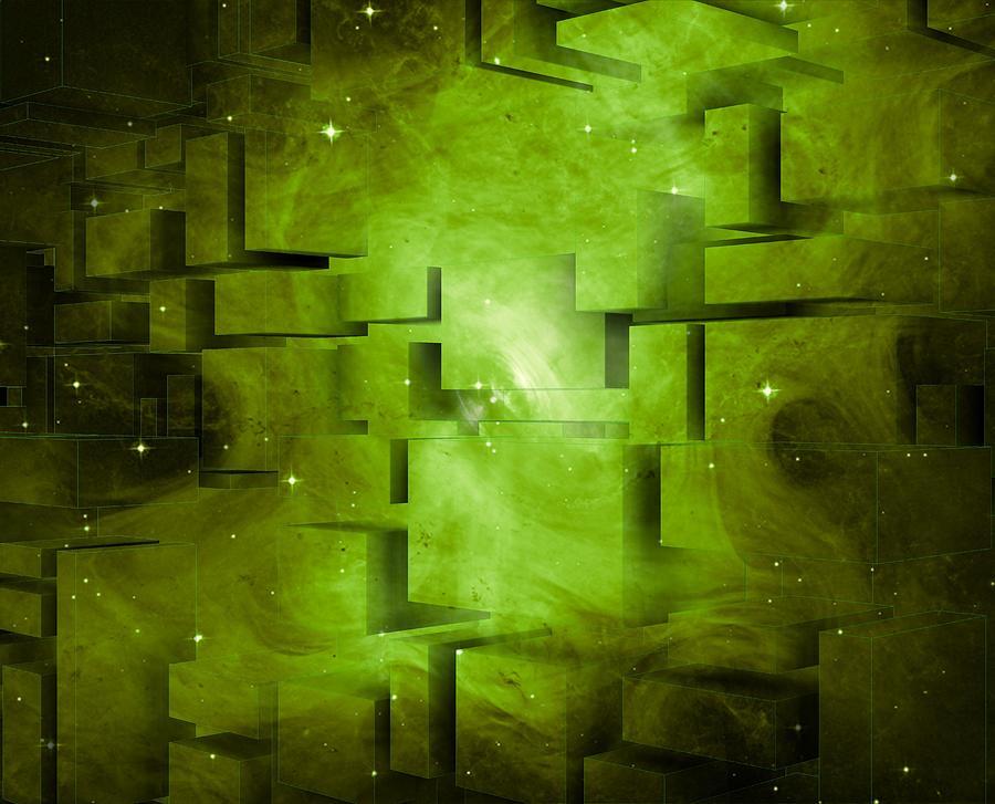 Green Broken Space Digital Art