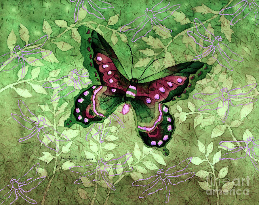 Green Butterfly Painting