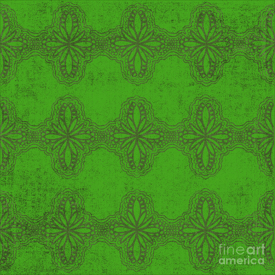 Green Damask Digital Art