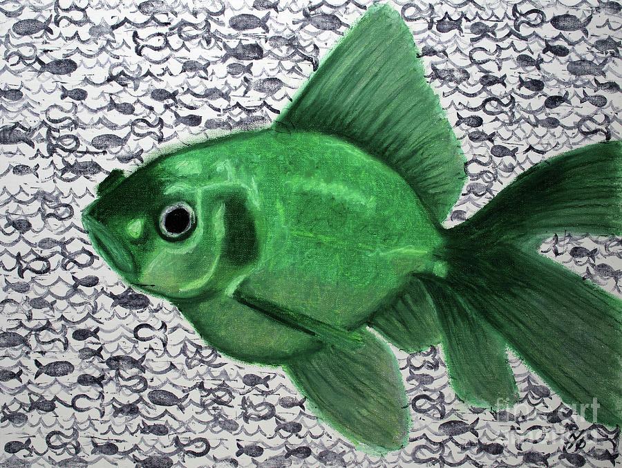 Fish Mixed Media - Green Fish by J Variable X