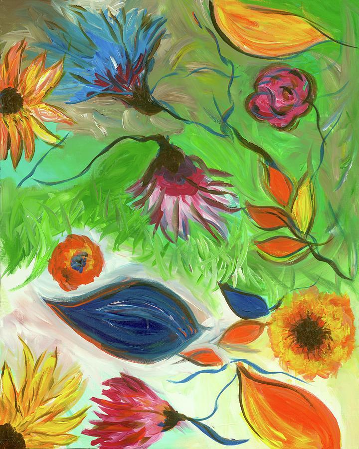 Flower Painting - Green Flower Abstract Swirls by Britt Miller