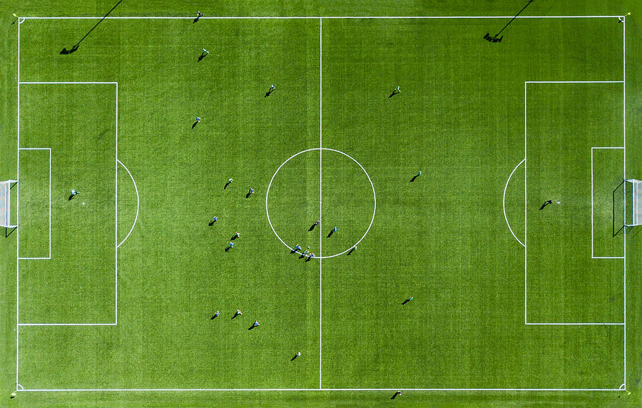 Green football pitch Aerial View Photograph by AlenaPaulus