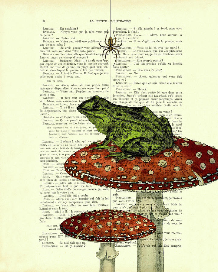 Frog Digital Art - Green frog on toadstool antique french book page art by Madame Memento