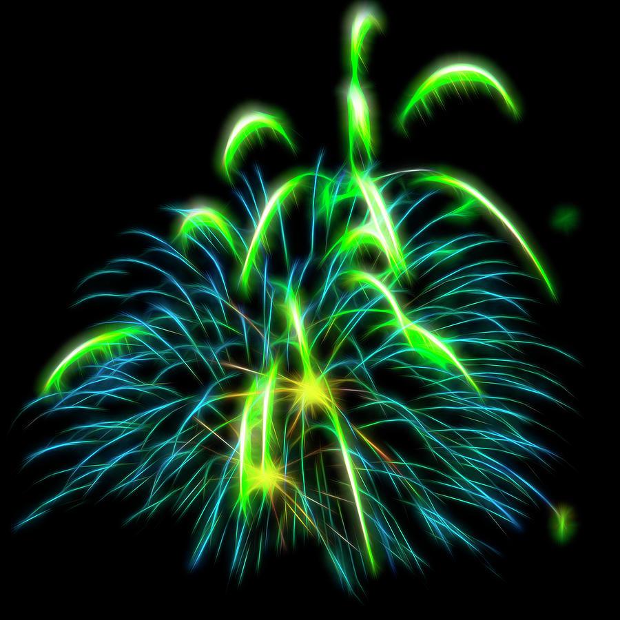 Green Glowing Fireworks by Yulia Kazansky