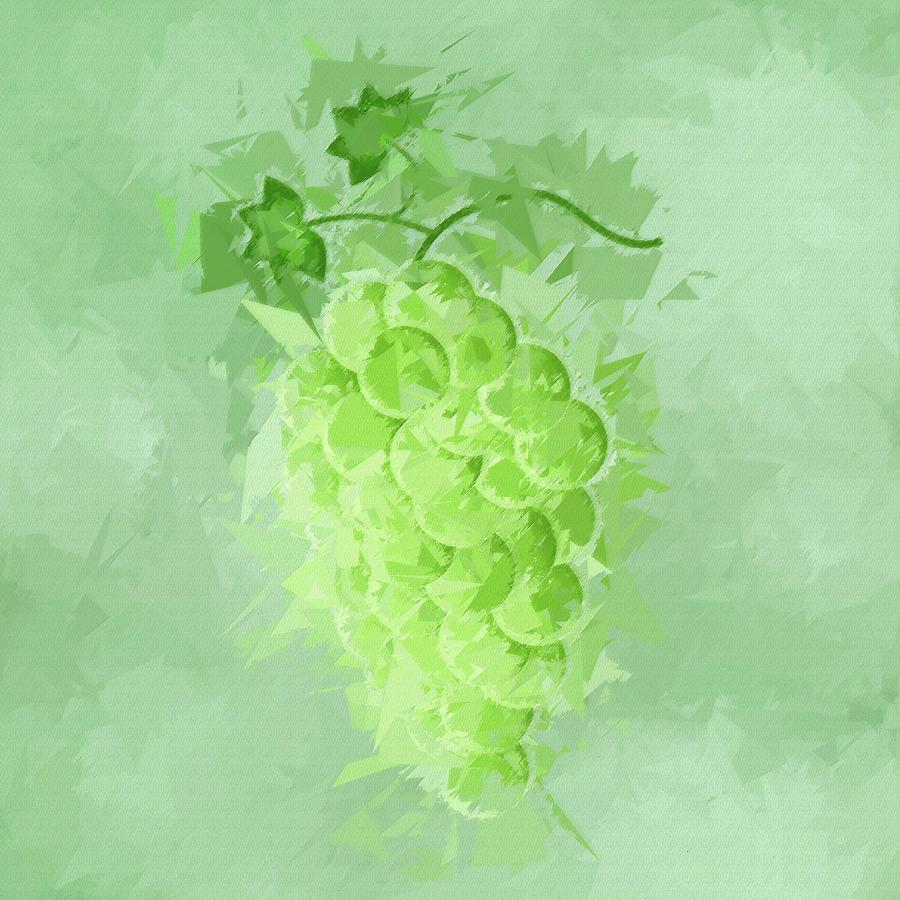 Grapes Digital Art - Green Grapes Abstract Fruit Pane 1  by David Dehner