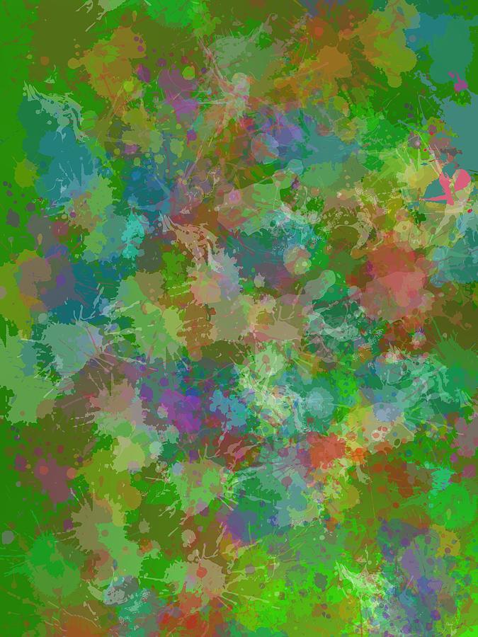 Green Grunge Stain Fashion. Digital Art