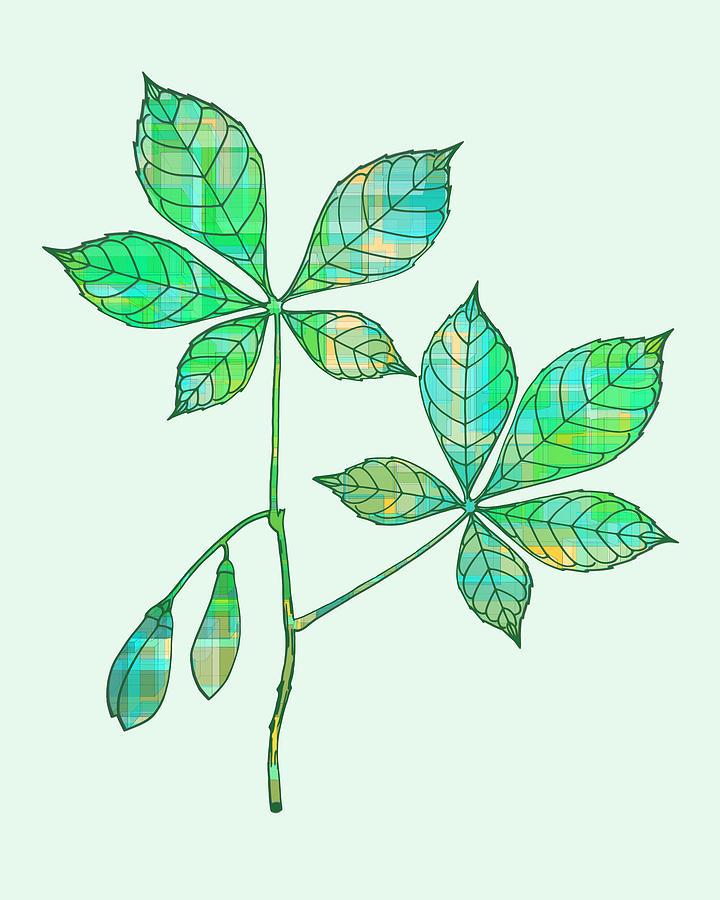 Green Leaves Silhouette Digital Art