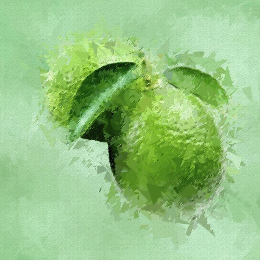 Green Limes Abstract Fruit Pane 3 Digital Art