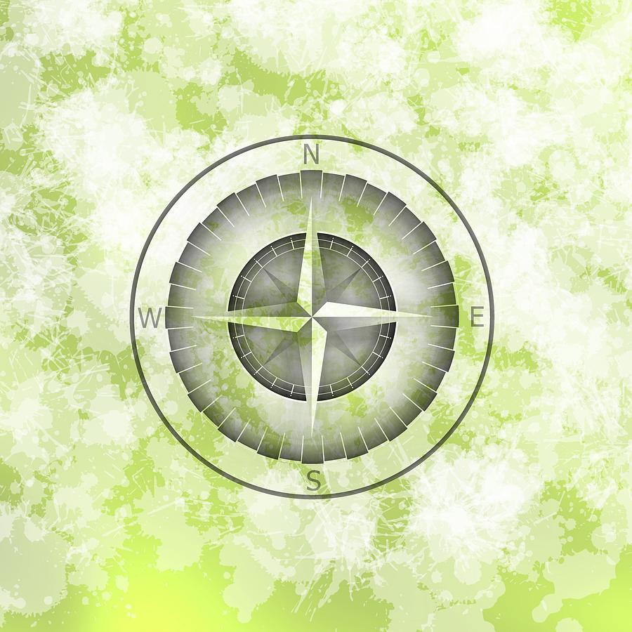 Green Mist Compas Digital Art