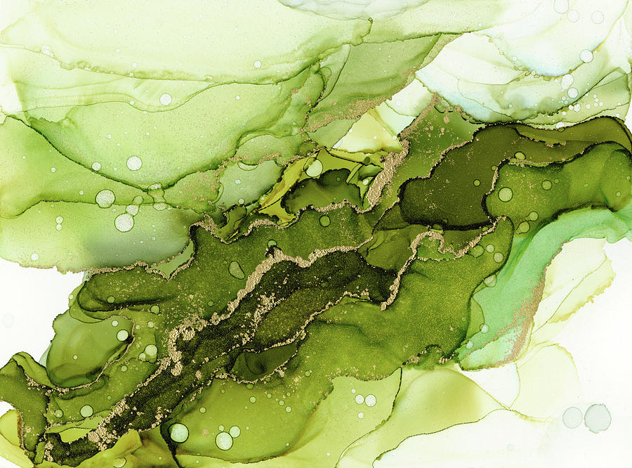 Abstract Ink Painting - Green Olive and Gold Abstract Ink by Olga Shvartsur