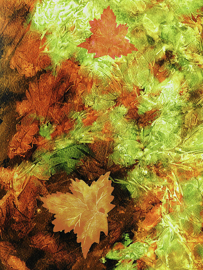 Autumn Painting - Green Orange Brown Fallen Leaves Abstract Watercolor  by Irina Sztukowski