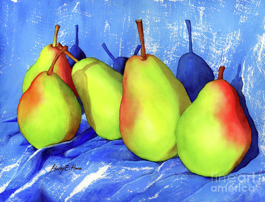 Green Pears On Blue Lace Painting