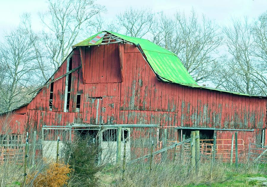Green Roofed Red Barn Photograph