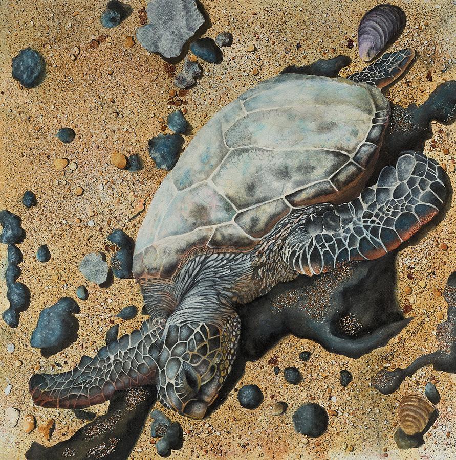 Oceans Painting - Green Sea Turtle by Mary Ellen Gerster