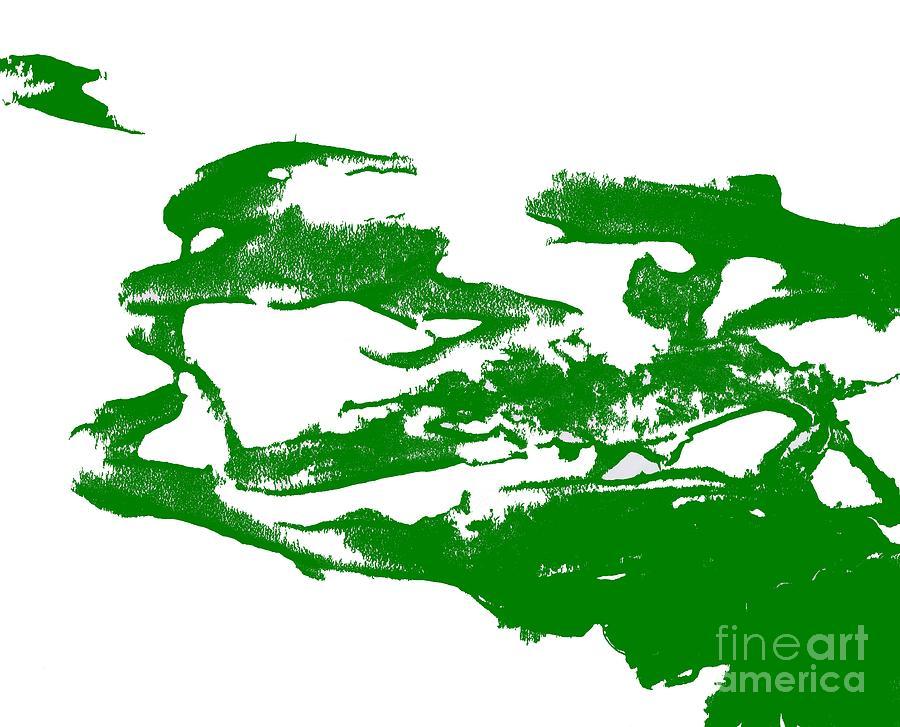 Green Splatter Brush Stroke Abstract Art Painting Photograph