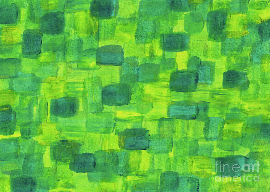 Green Abstract Painting - Green Squares Abstract Acrylic Painting by LJ Knight