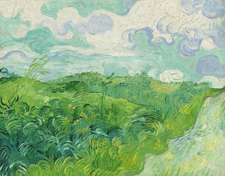 Green Wheat Fields By Vincent Van Gogh Painting
