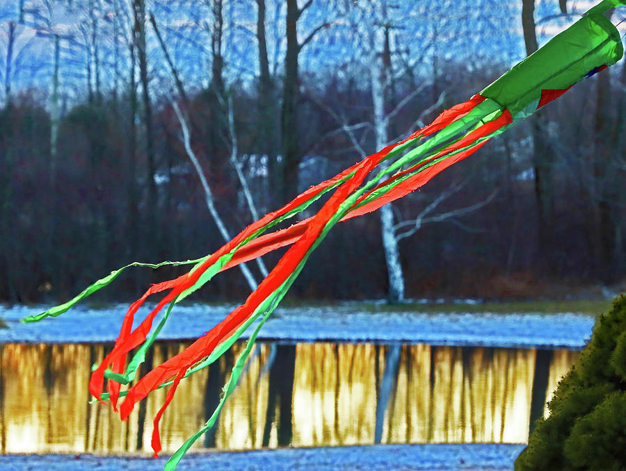 Green Windsock, Green And Red Streamers Pond With Reflections 0056 Photograph by David Frederick