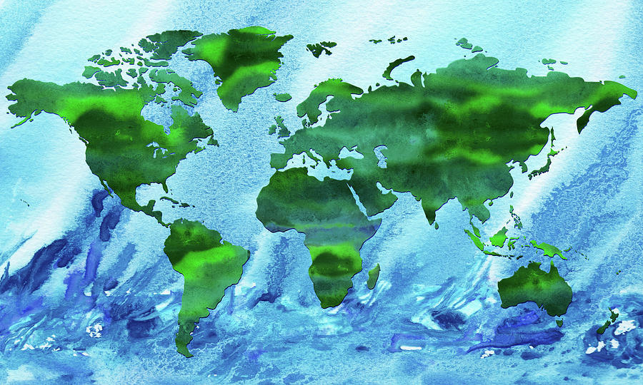 Green World Blue Ocean Watercolor Map Silhouette Painting