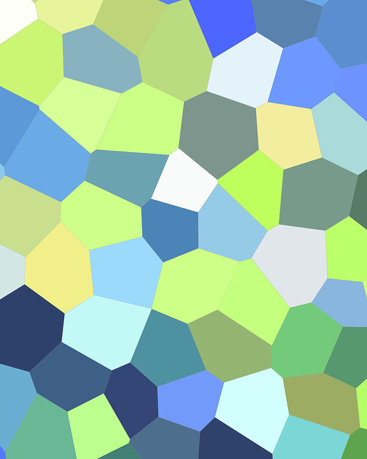 Green Yellow Blue Mosaic Art II Painting