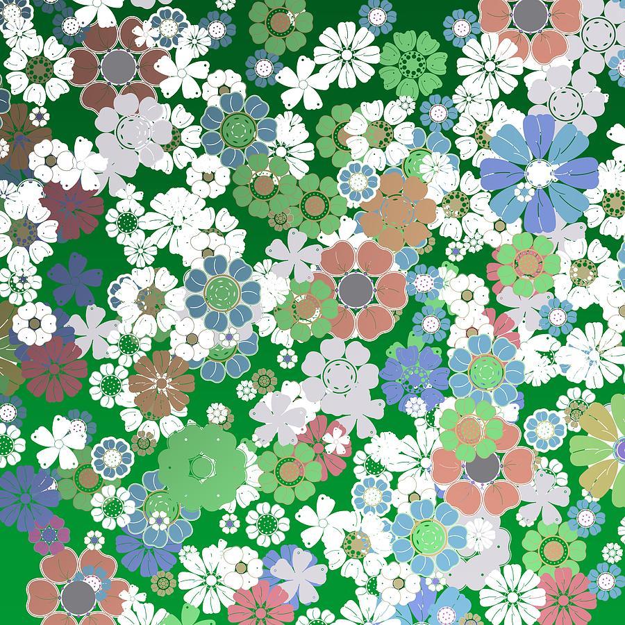 Greenish Flower Background Digital Art