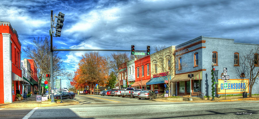 Greensboro Georgia 7 Fall Small Town Cityscape Art by Reid Callaway