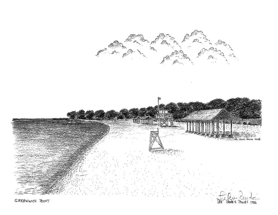 Greenwich Point Drawing - Greenwich Point Beach by Lee Pantas