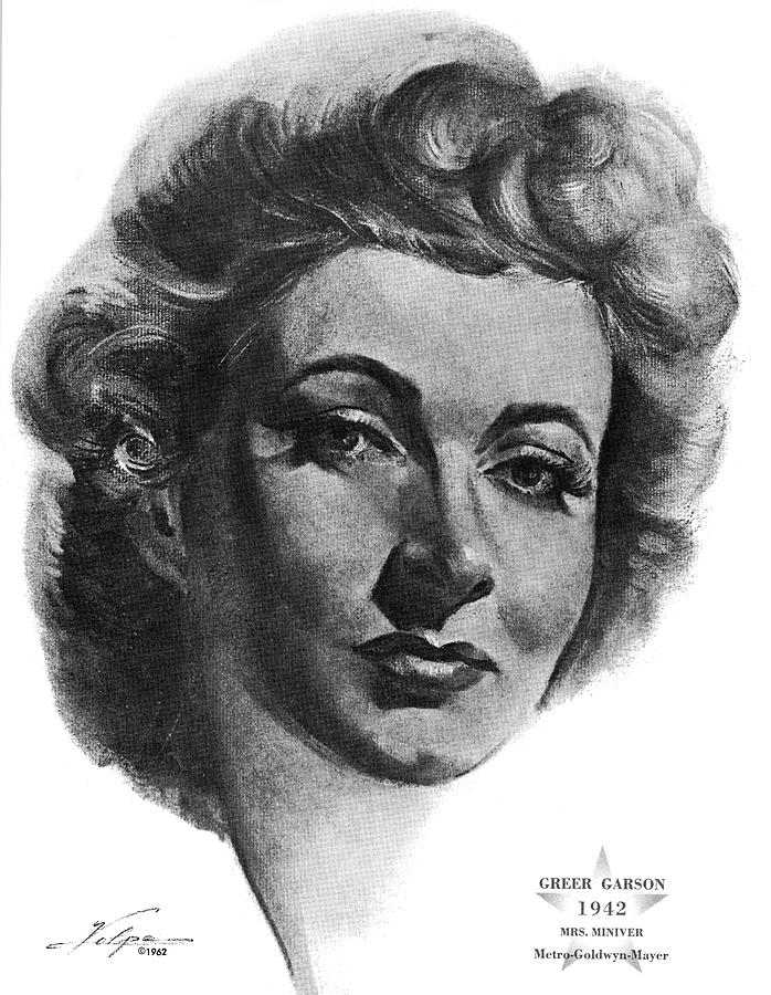 Greer Garson By Volpe Drawing