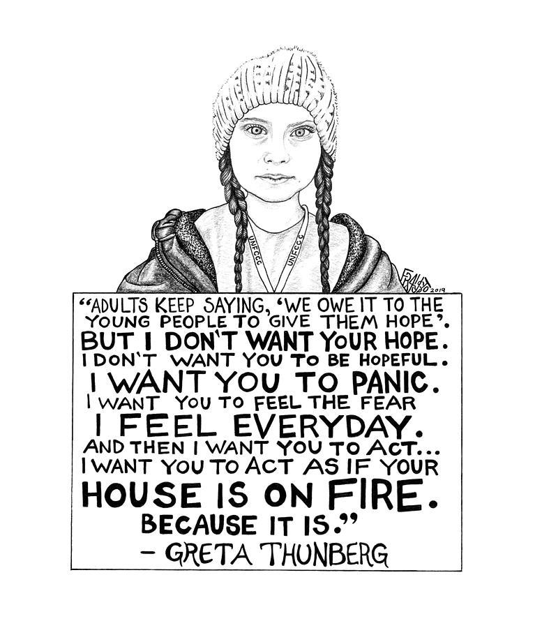 Pen And Ink Drawing - Greta Thunberg Drawing by Rick Frausto