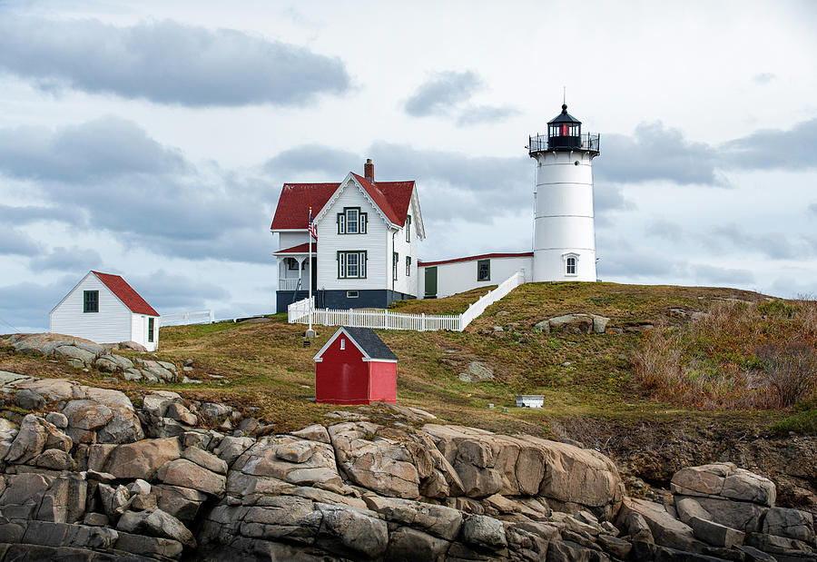 Lighthouse Photograph - Grey Clouds at Nubble by Sandra Marie Photography