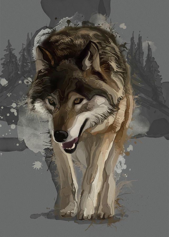 Grey Wolf Vintage Digital Art