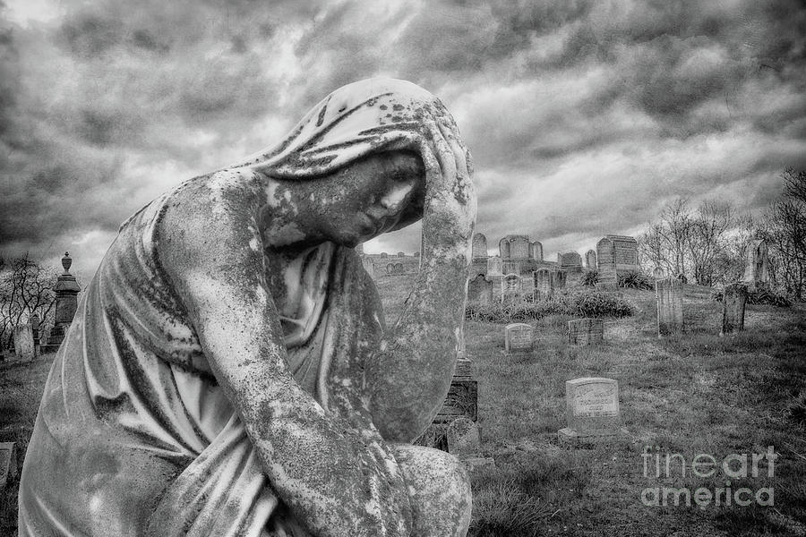 Grief And Sorrow Cemetery Statue Black And White Digital Art