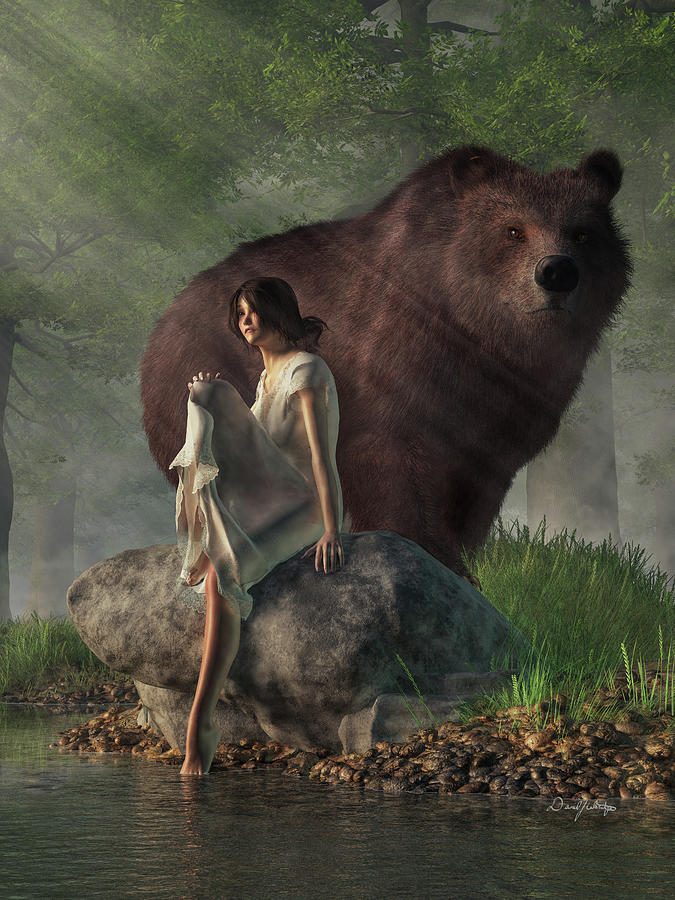 Grizzly Bear And Girl In A Nightgown Digital Art