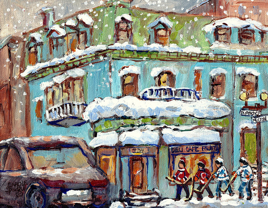 GROCERY STORE CORNER MILTON AND DUROCHER NEAR MCGILL C SPANDAU MONTREAL WINTER SCENE HOCKEY ARTIST by CAROLE SPANDAU
