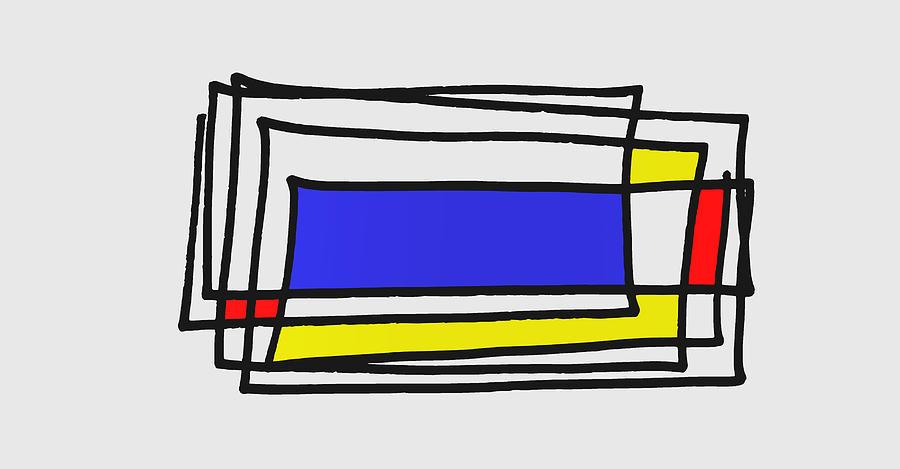 Grounge Mondrian Composition Digital Art