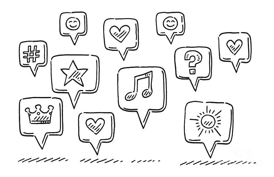 Sketch Drawing - Group Of Social Media Symbols Drawing by Frank Ramspott