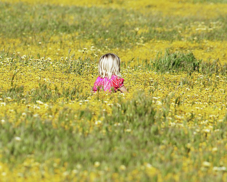 Growing Like a Weed -- Girl Sitting in Wildflower Field in Santa Margarita, California by Darin Volpe