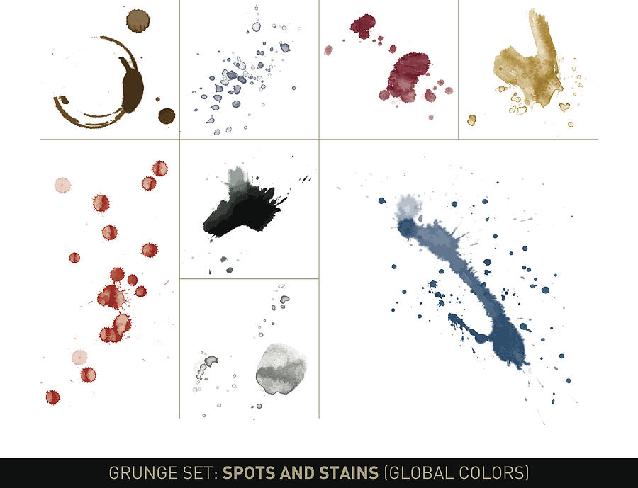 Grunge set: Dirt spots and stains in global colors Drawing by Thoth_Adan