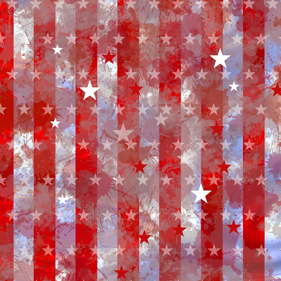 Grunge Stripes Of Holiday With Stars. Digital Art