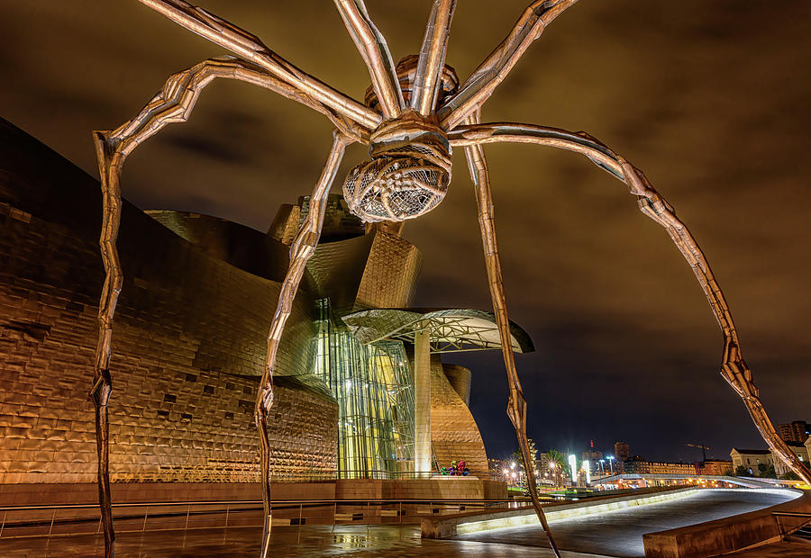 Guggenheim and Spider Bilbao Spain by Joan Carroll