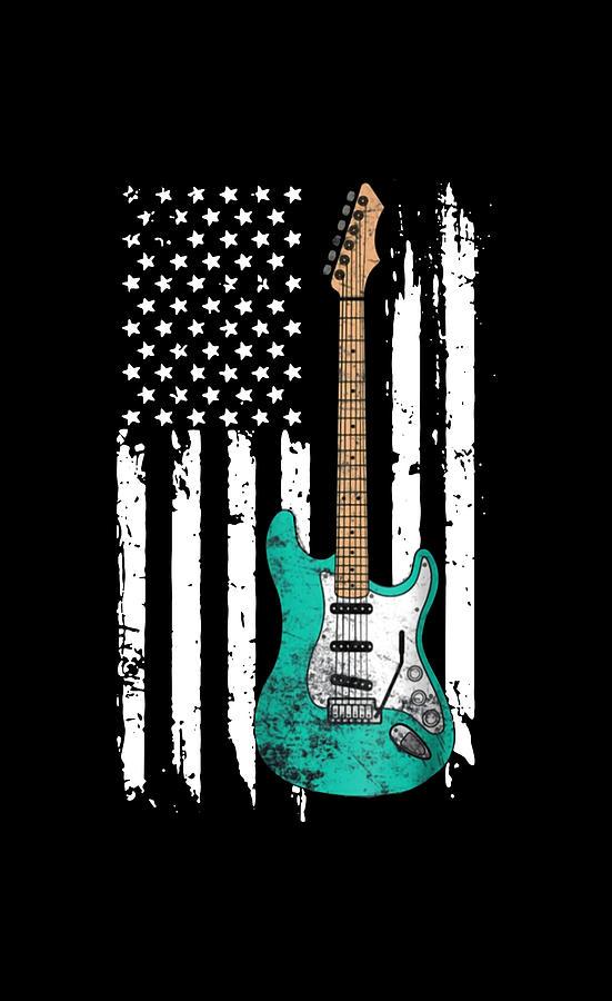 Guitar American Flag Digital Art