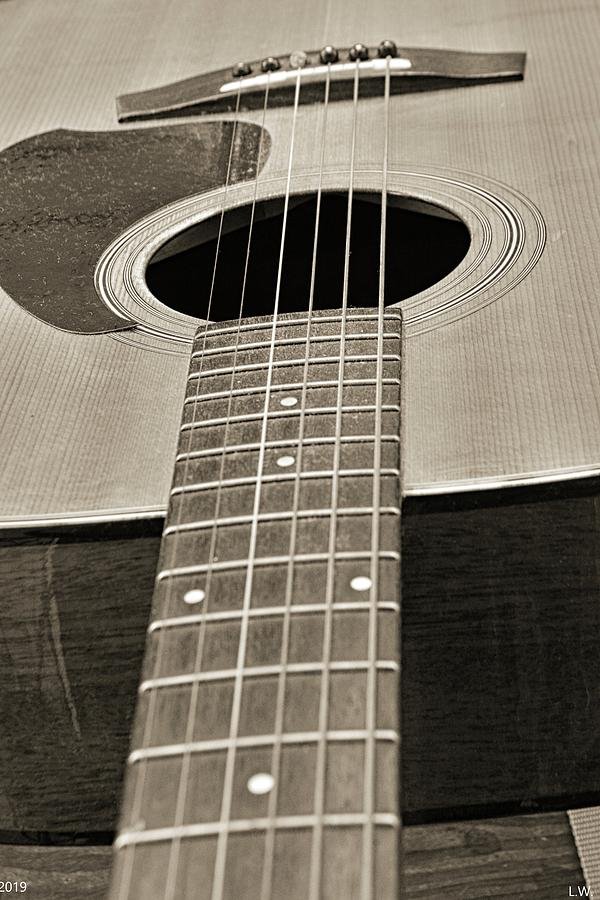 Guitar Black And White by Lisa Wooten