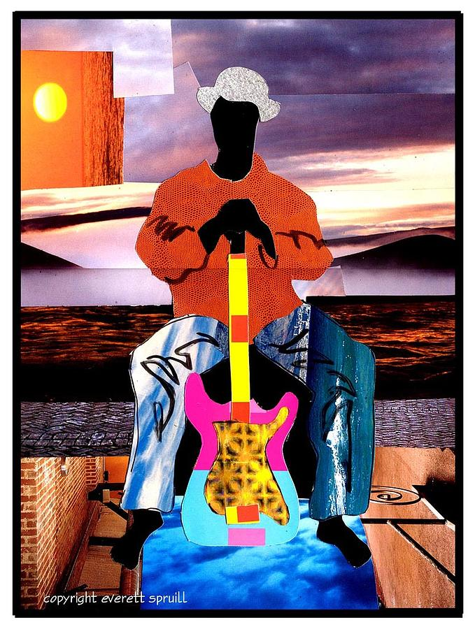 Cubism Painting - Guitar Man by Everett Spruill