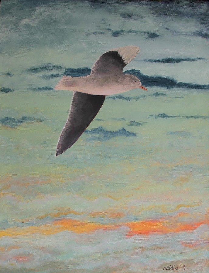 Gull At Sunset Painting