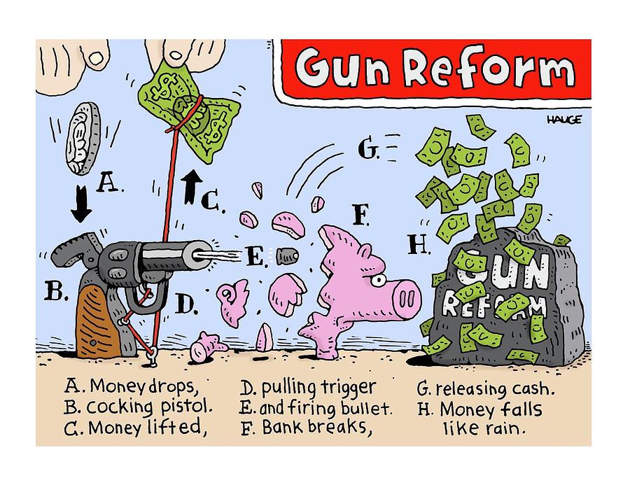 Gun Reform Drawing by Ron Hauge