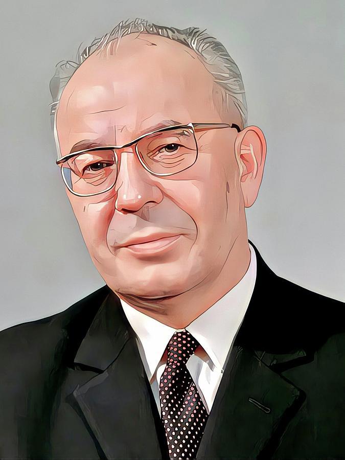 Communist Leader Painting - Gustav Husak President of Czechoslovakia Portrait by Vincent Monozlay
