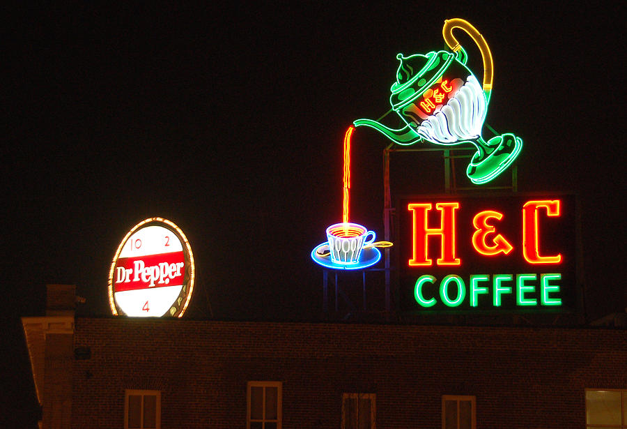 Neon Sign Photograph - H and C Coffee Sign Roanoke Virginia by Suzanne Gaff